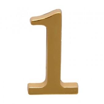 """Цифра дверная АЛЛЮР """"1"""" на клеевой основе  золото (600,20)"""
