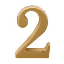 """Цифра дверная АЛЛЮР """"2"""" на клеевой основе  золото (600,20)"""