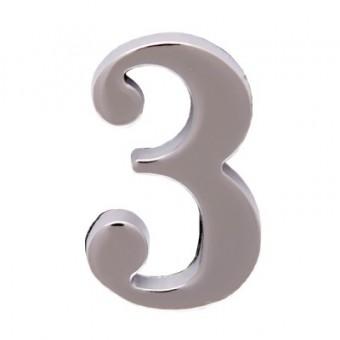 """Цифра дверная АЛЛЮР """"3"""" на клеевой основе  хром (600,20)"""