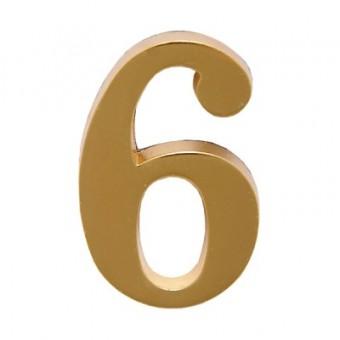 """Цифра дверная АЛЛЮР """"6"""" на клеевой основе  золото (600,20)"""