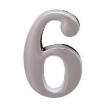 """Цифра дверная АЛЛЮР """"6"""" на клеевой основе  хром (600,20)"""
