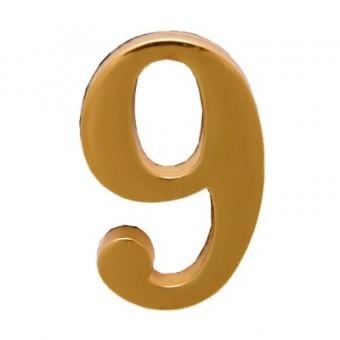 """Цифра дверная АЛЛЮР """"9"""" на клеевой основе  золото (600,20)"""