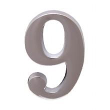 """Цифра дверная АЛЛЮР """"9"""" на клеевой основе  хром (600,20)"""