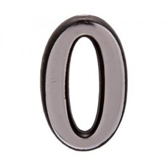"Цифра дверная АЛЛЮР пластик ""0"" хром (3000,100,20!!!)"