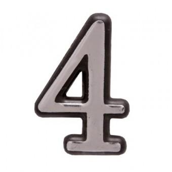 "Цифра дверная АЛЛЮР пластик ""4"" хром (3000,100,20!!!)"