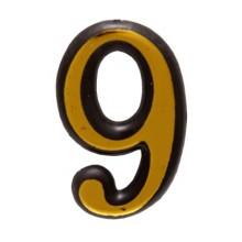 """Цифра дверная АЛЛЮР пластик """"9"""" золото (3000,100,20!!!)"""