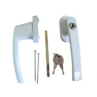 Ручка с ключом + кнопка д/пласт.окон  Белая (WH008) (50,10)