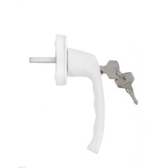 Ручка с ключом + кнопка д/пласт.окон ANTEY WH 038 RAL 9016 белая (80,4)